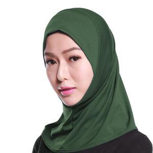 Image 2 - イスラム教徒の女性フルカバーキャップヒジャーブミニスカーフ帽子ターバン帽子ヘッドカバーイスラムスカーフの下無地スカーフアミラ忍者