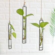 Macetas de hierro con flor para colgar en pared Mini maceta para jardín, cristal hidropónico, colgante transparente, botella de flores, decoración para la habitación del hogar