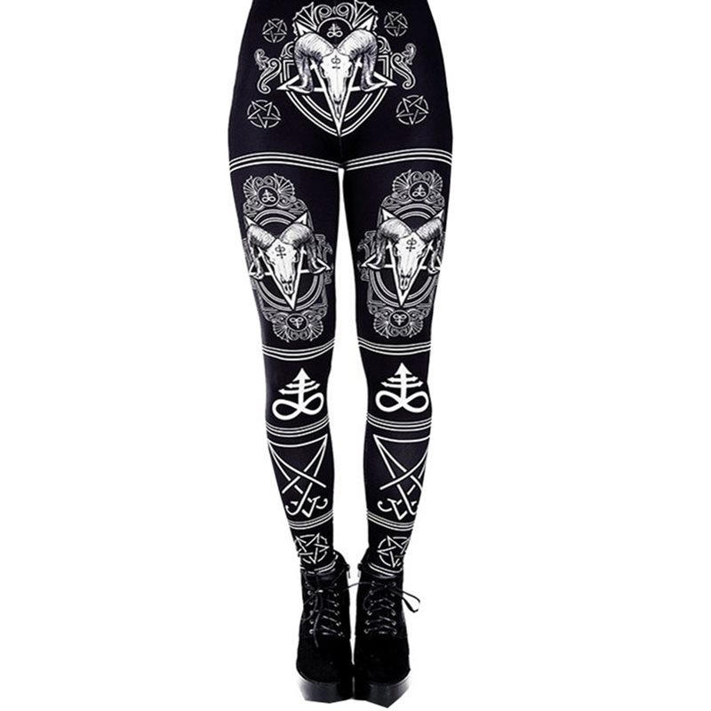 Rosetic Summer Women Fitness Leggings Streetwear Gothic Print Casual Leggings Push Up Sexy Plus Size 5XL Black Print Legging