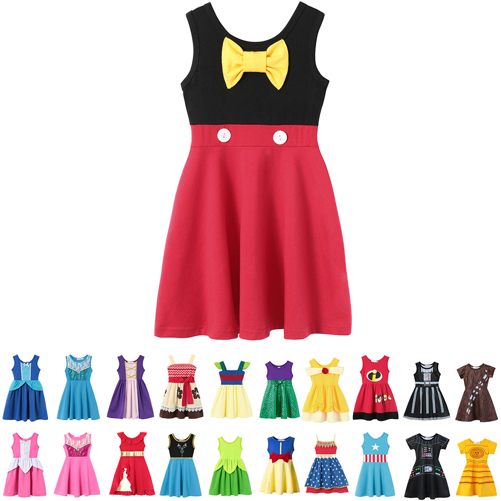 Baby Girls Summer Casual Clothing Minnie Mulan Wonder Woman Snow White Rapunzel Tinker Bell Jasmine Elena Princess Party Dresses(China)