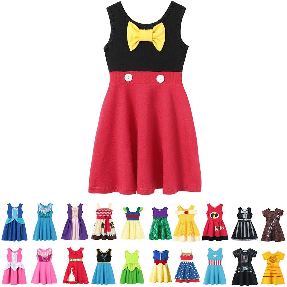 Baby Mädchen Sommer Casual Kleidung Minnie Mulan Wonder Frau Schnee Weiß Rapunzel Fee Tinker Glocke Jasmin Elena Prinzessin Party Kleider