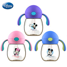 Disney 300ml Infant Feeding Bottle For Baby Children PPSU Cup With Handle Minnie Mickey Mouse Cup Straw For Drinking Water Train(China)