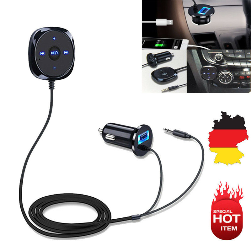 Bluetooth Audio Musikempfänger <font><b>Auto</b></font> 3,5mm Adapter USB <font><b>Auto</b></font> <font><b>Ladeger</b></font>äte <font><b>Ladeger</b></font>ät AUX MP3 Spieler image