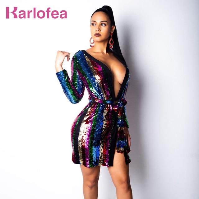 Karlofea Sexy Multi Color Strip Sequin Party Dress For Women Deep V Neck  Cardigan Club Night d0cea232efc6