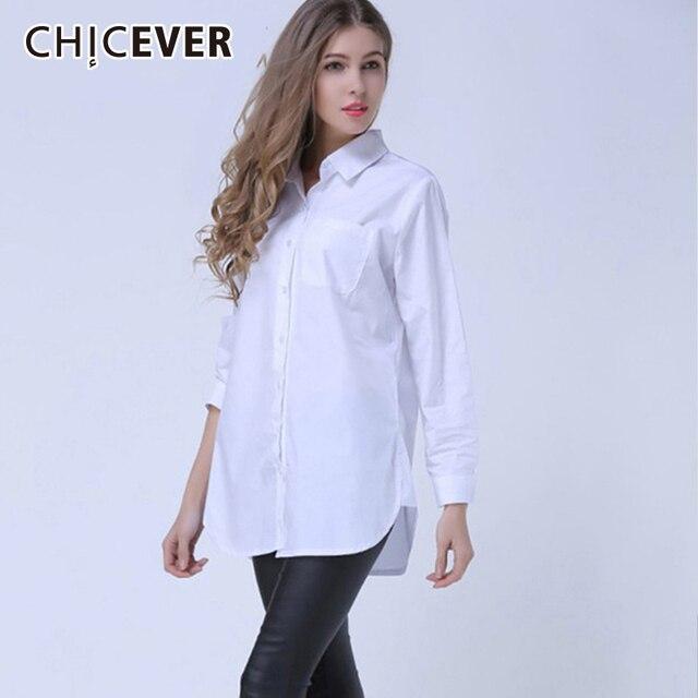 CHICEVER Лето 2018 г. женская рубашка женственный блузка Топ с длинным рукавом повседневное белый и синий в полоску Блузки для малышек женщина рубашк
