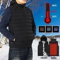 L 4XL Men Women Winter Heated USB Hooded Work Jacket Waistcoat Windproof Adjustable Temperature Control Safety Clothes L 4XL