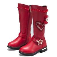 Girls boots fashion girls snow boots waterproof warm cylinder children's boots black red