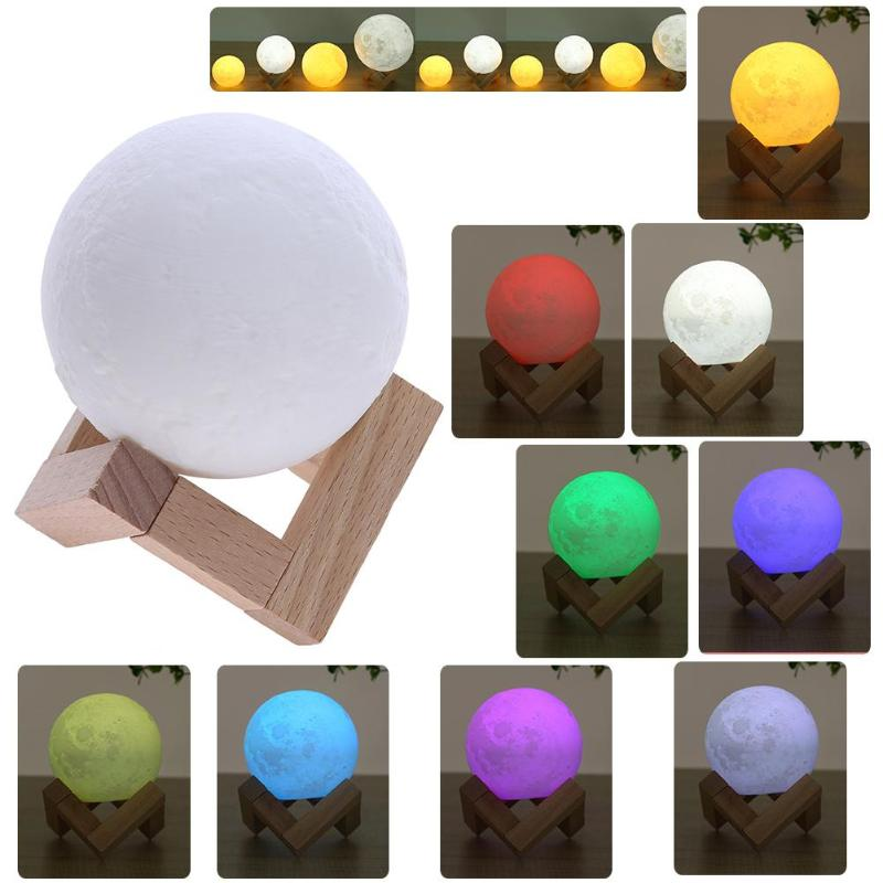 16 Colors 3D Moon Light Children's Night Light USB Rechargea