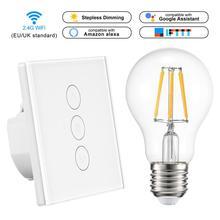 Светодиодный диммер 220 В Wifi диммер умный WiFi сенсорный светильник сенсорный выключатель работает с Alexa Google Assistant IFTTT E27 лампочка
