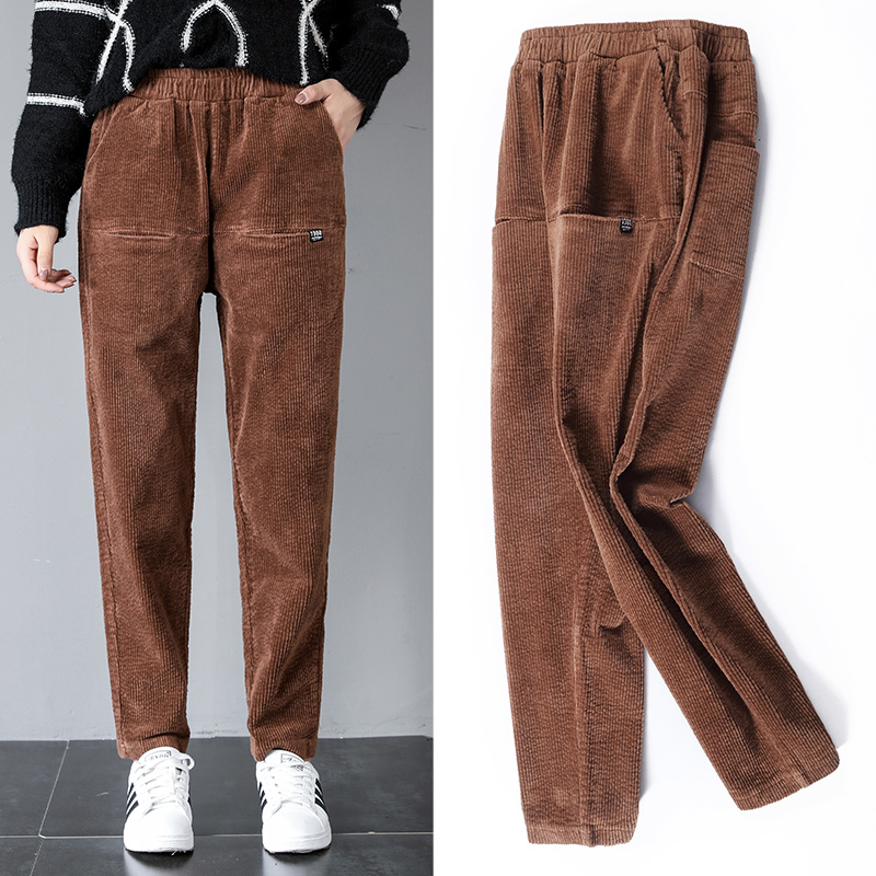 Corduroy Harem Pants Women High Elastic Waist Pockets -2853