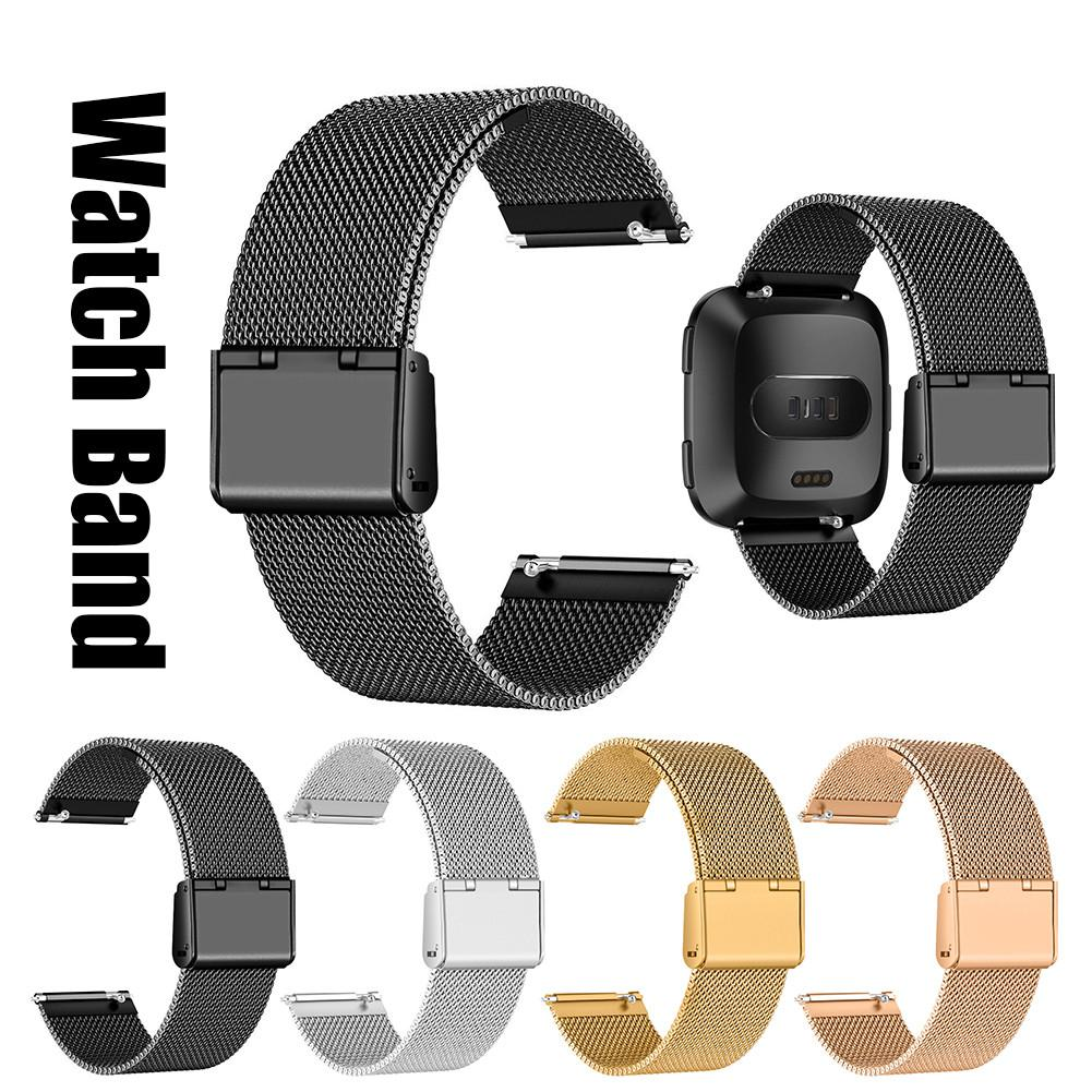 Image 4 - Stainless Steel Mesh Replacement Wrist Watch Band Strap Bracelet Magnetic Closure For Fitbit Versa Wristband Accessories 2019-in Smart Accessories from Consumer Electronics