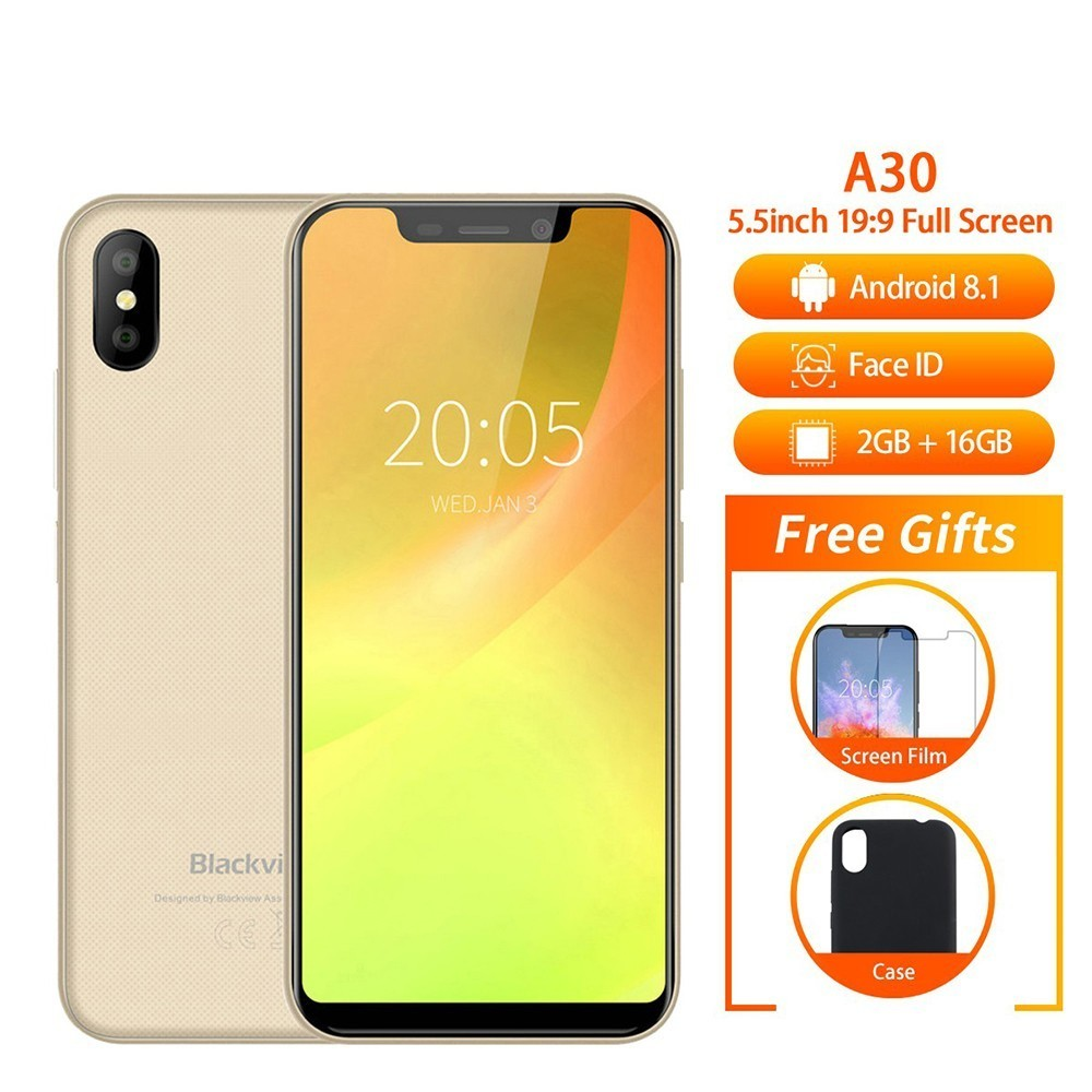 BLACKVIEW A30 Telefoon 5.5 19:9 Full Screen MTK6580A Quad Core Android 8.1 2 GB + 16 GB Dual SIM gezicht ID 8.0MP Dual Camera SmartPhone