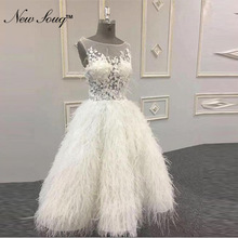 New souq Feather Ivory Cocktail Dresses Knee Length Arabic