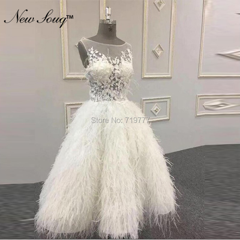 Feather Ivory   Cocktail     Dresses   Knee Length Arabic Dubai Turkish Style Party Gown 2019 Robe   Cocktail   Robe De Soiree Aibye Prom