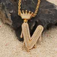 Custom Crown Bail Drip Bubble Initial Letters Chain Necklaces & Pendant For Men Women Gold Color Cubic Zircon Hip Hop Jewelry