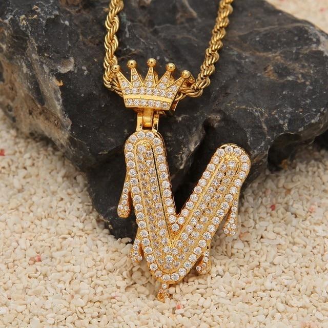 Personalizado Crown Fiança Gotejamento Bolha Cadeia de Letras Iniciais Colares & Pendant Para Mulheres Dos Homens de Cor de Ouro Zircão Cúbico de Hip Hop jóias