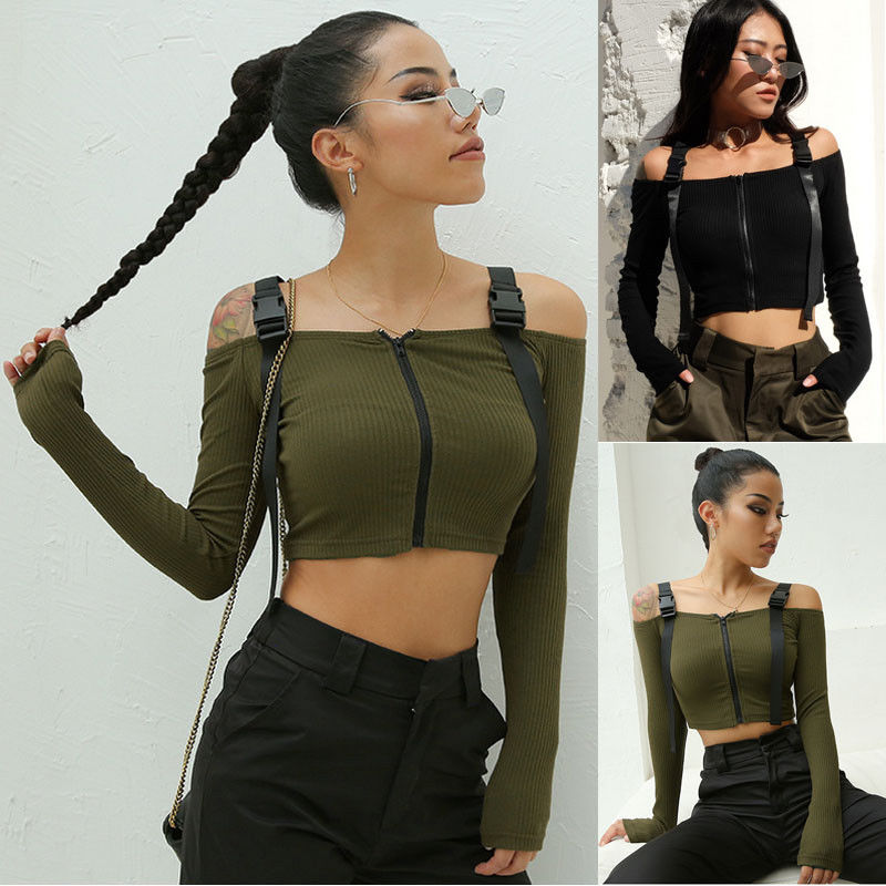 Fashion Women Sexy Cool Off Shoulder Short Tanks Camis Crop Tops Bodycon Army Green Black Girls Tanks Camis