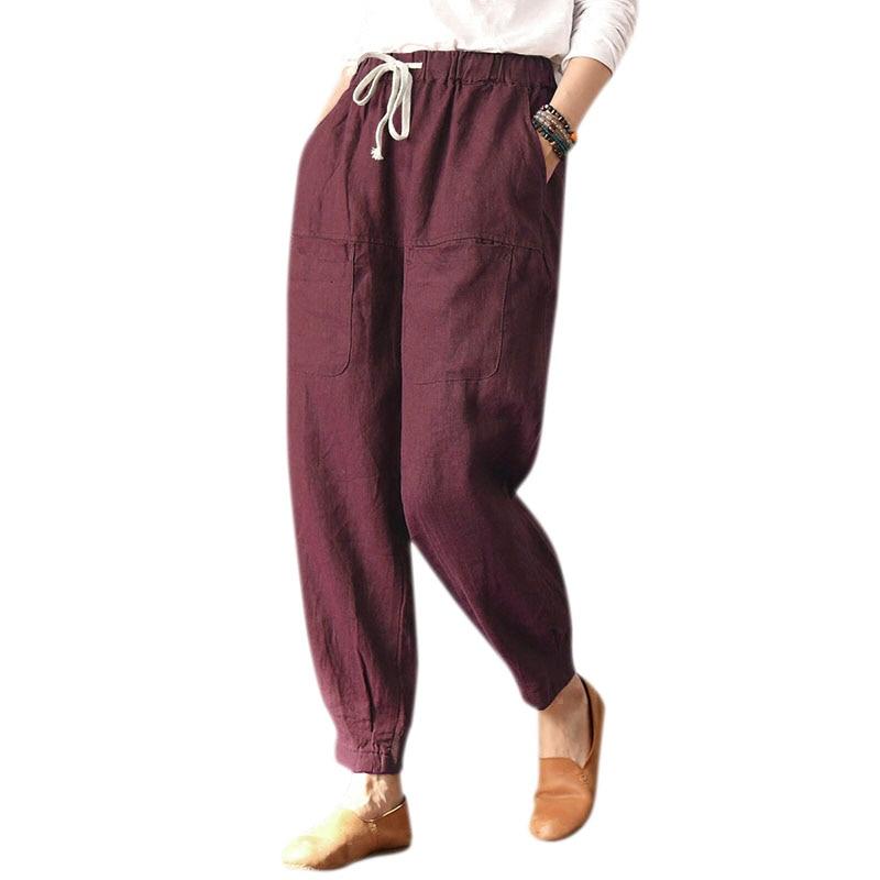 Women Fashion Loose Drawstring Elastic Waist Multi-pocket Harem Pants Ladies Casual Solid Color Cotton Long Pants Trousers Plu