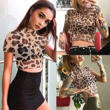 Short Sleeve Mesh Top Leopard Print T Shirt  PU27