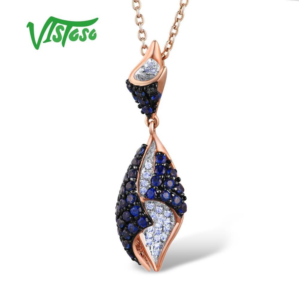 VISTOSO Gouden Hanger Voor Vrouwen Echt 14K 585 Rose Goud Fonkelende Diamanten Blue Sapphire Delicate Ketting Hanger Fijne Sieraden-in Hangers van Sieraden & accessoires op  Groep 1