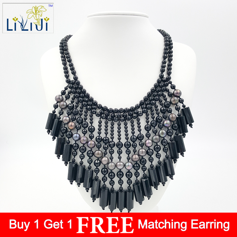 Lii Ji Black Agate Freshwater Pearl with Jade Toggle Clasp Handmade Knitting Necklace Approx 50 54cm