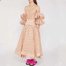 فستان قطعتين توب وتنورة شيفون منقوش أنيق