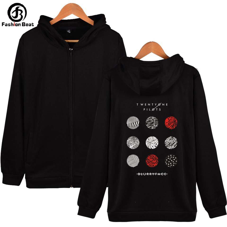 Twenty One Pilots Hoodie Fashion Zipper Hoodies Rock Music Band Hoody Sweatshirts Men Women Winter Jacket Casual Brand Clothing