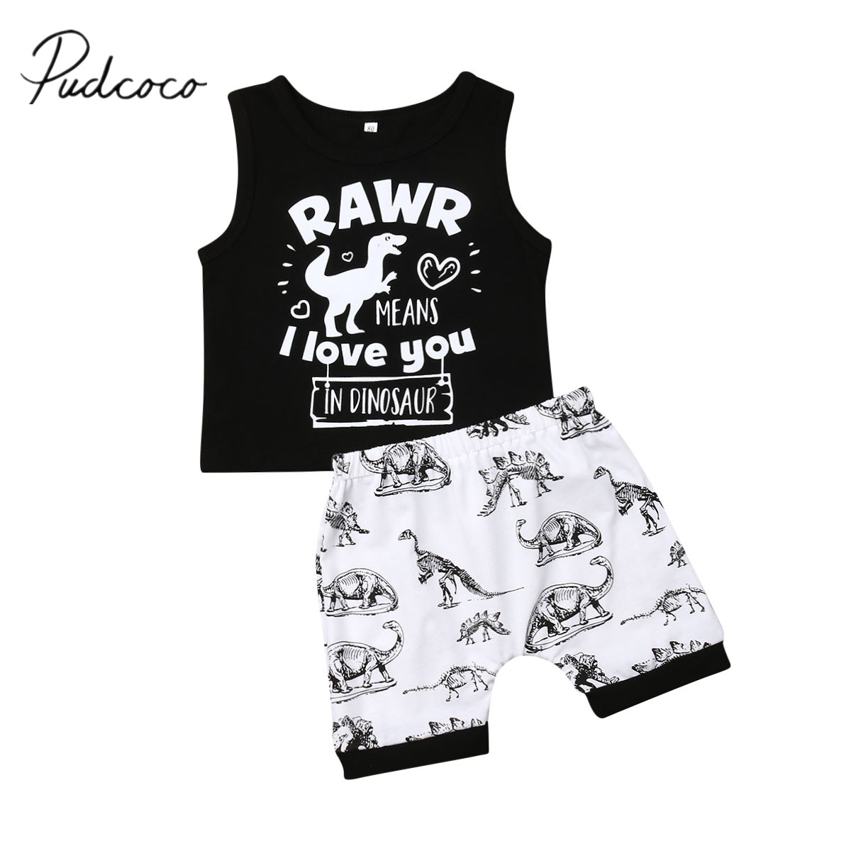 Toddler Infant Baby Boys Letter T shirt Tops Dinosaur Pants Clothes Outfits Set