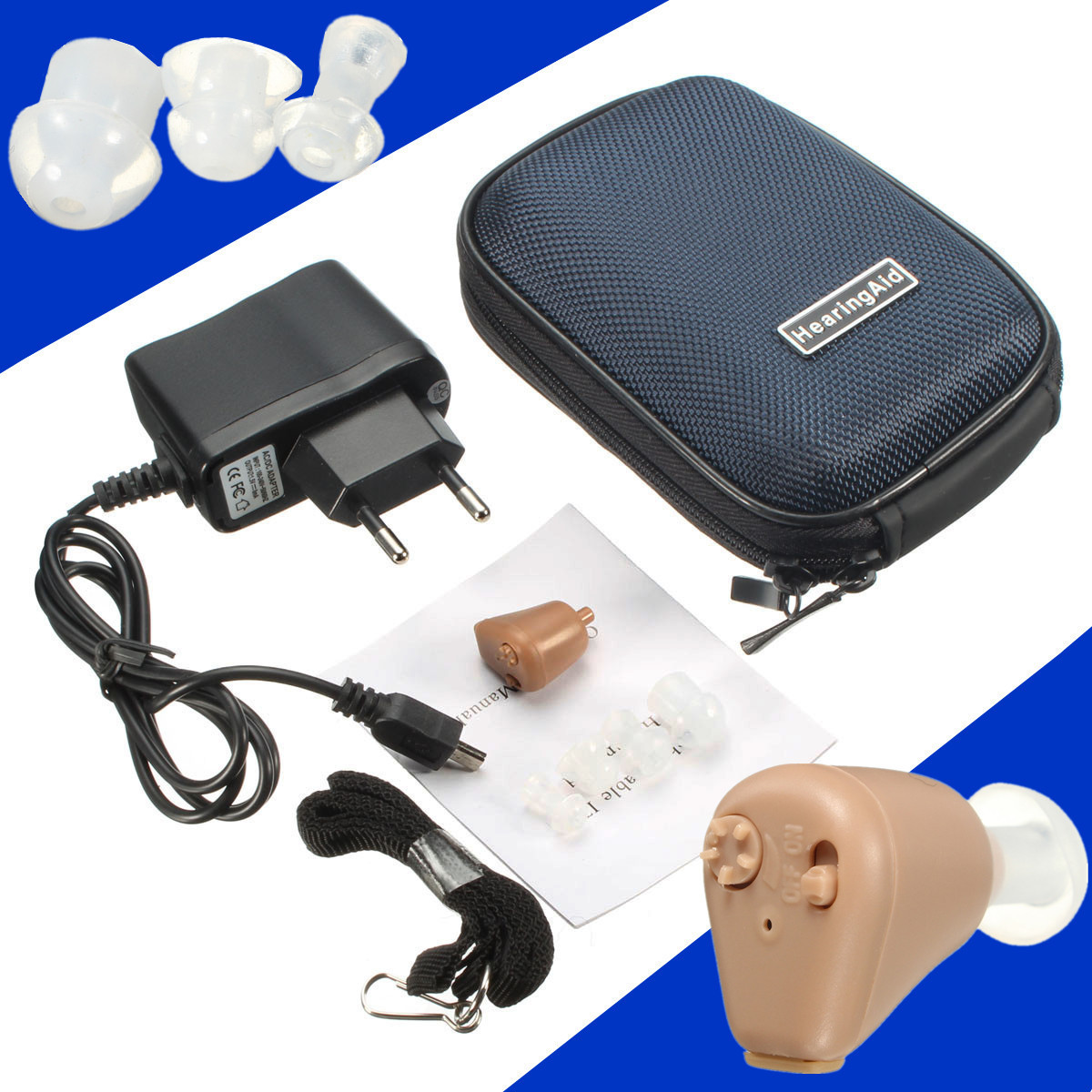 K-88 Mini Adjustable In-ear Best Invisible Sound Enhancement Deaf Volume Amplifier Hearing Aid Aids Ear Assistance Carrying Case