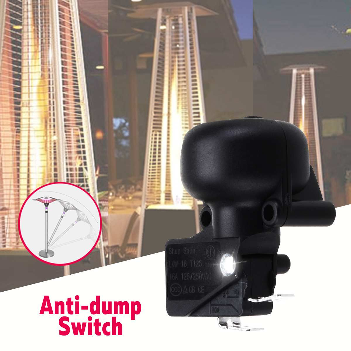 ExcLent Universal Ac 220V 50Hz Anti-Dump Switch Black For Patio Heater Garden Outdoor Heater Accessoires