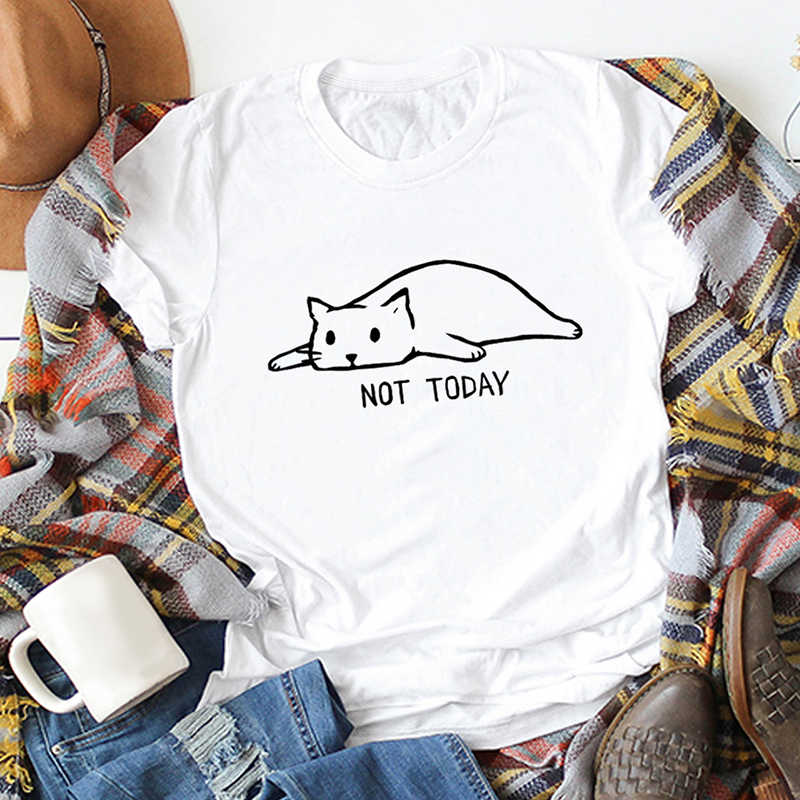 """Забавная футболка женская, с рисунком кота из мультфильма """"нет сегодня"""" , с принтом в виде букв с надписью футболки из хлопка с круглым вырезом короткий рукав Повседневное плюс Размеры Топы 2019"""