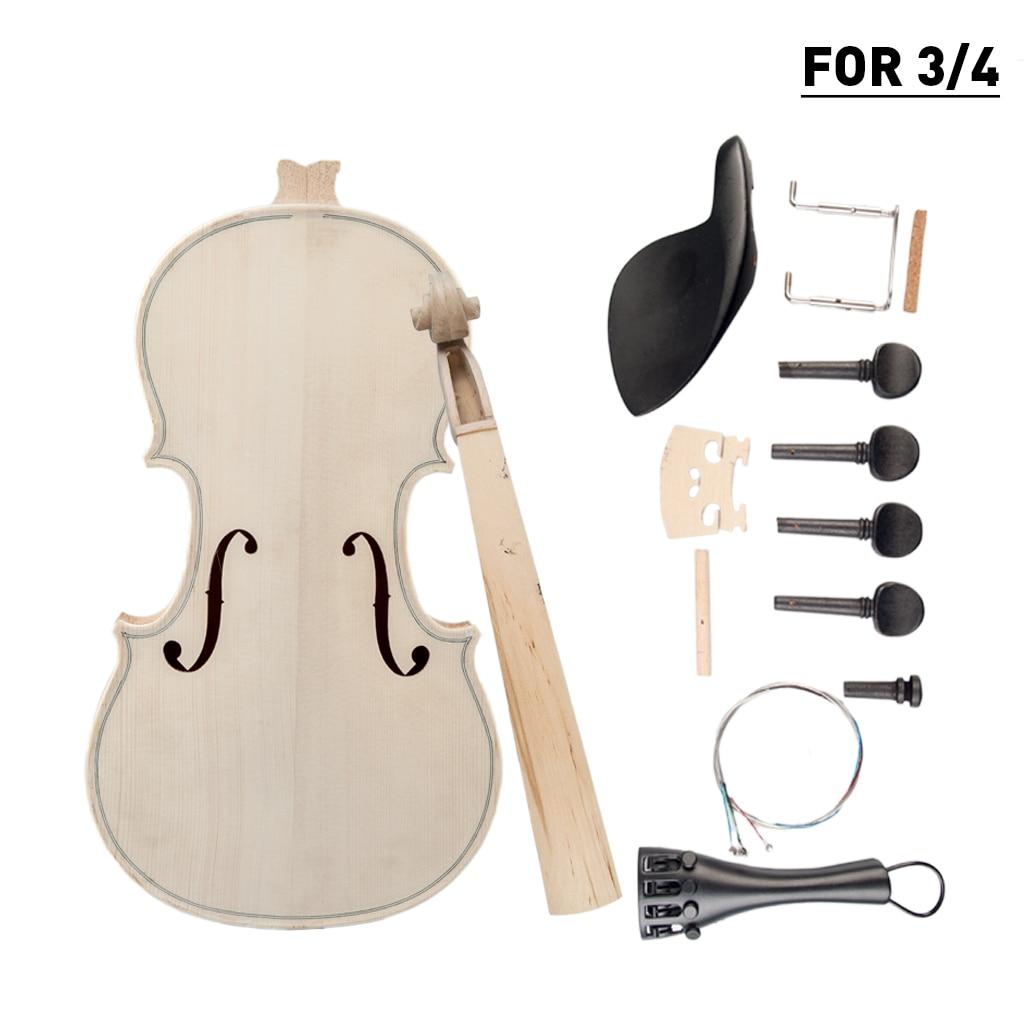 Diy Violin 3 4 Violin Diy Kit Natural Solid Wood Acoustic