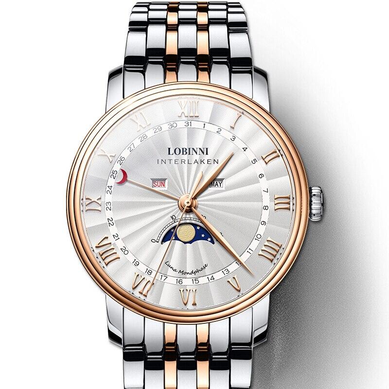 LOBINNI Luxury Brand Men s Watch Switzerland Watch Men Sapphire Waterproof Moon Phase reloj hombre Japan