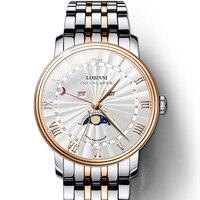 LOBINNI Элитный бренд для мужчин смотреть швейцарские часы сапфир водостойкий Moon Phase reloj hombre японский механизм Miyota L3603M2