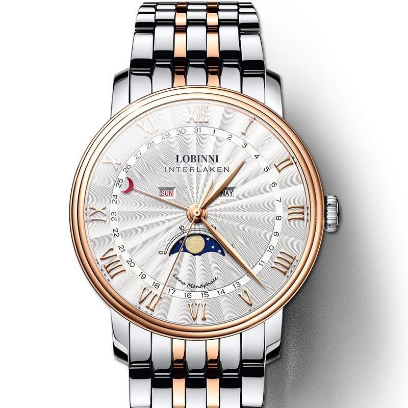 Lobinni 고급 브랜드 남자 시계 스위스 시계 남자 사파이어 방수 달 단계 reloj hombre 일본 miyota 운동 l3603m2-에서수정 시계부터 시계 의  그룹 1