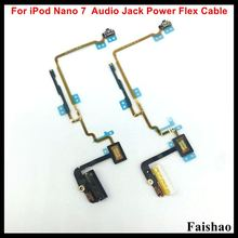 FaiShao New Headphone Audio Jack Power Volume Button Flex Cable For iPod Nano 7 7th Gen White Black Replacement