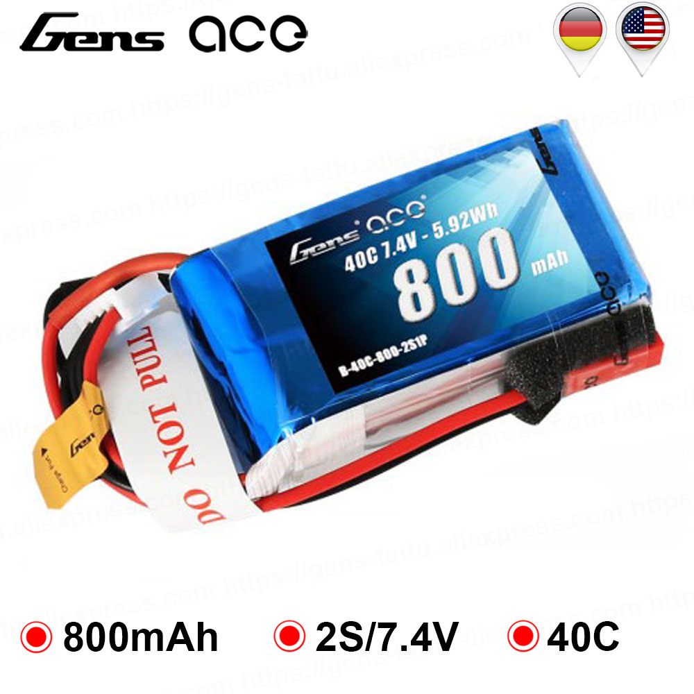 Gens ace Lipo <font><b>Battery</b></font> 2S <font><b>800mAh</b></font> Lipo <font><b>7.4V</b></font> <font><b>Battery</b></font> Pack 40C RC <font><b>Battery</b></font> for 250 Helicopter Drone 800mm Warbird High Performance image