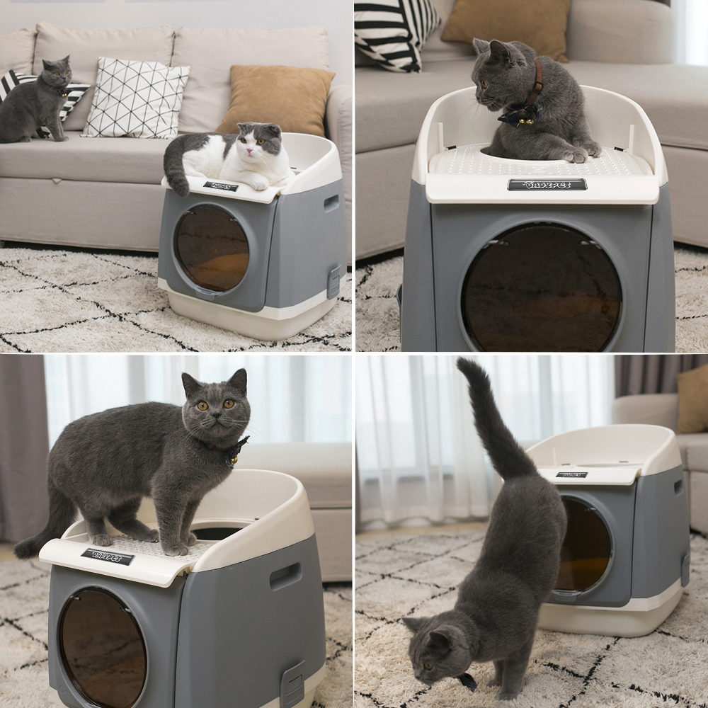 Cat Litter Box Cat Cabin Washroom Double-door Design Top-Entry Front-Entry Configurable with Ergonomic Large Cat Litter Tray 翻轉 貓 砂 盆
