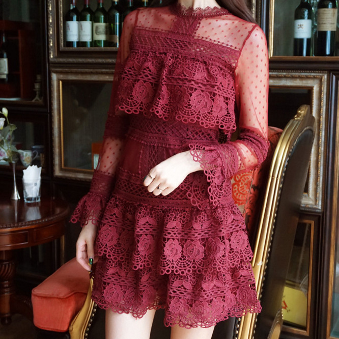 Women See Though Long Sleeve Lace Dress Mesh Floral Appliques Ball Gown Sexy Mini Dress Cake Party Dress Wine Red Black Robe