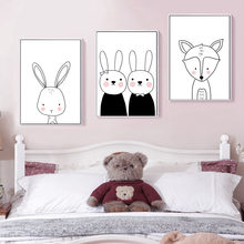 c51be19bd Cartoon Wall Art Print Rabbit Bear Giraffe Fox Canvas Painting Nordic Black  and White Poster Baby