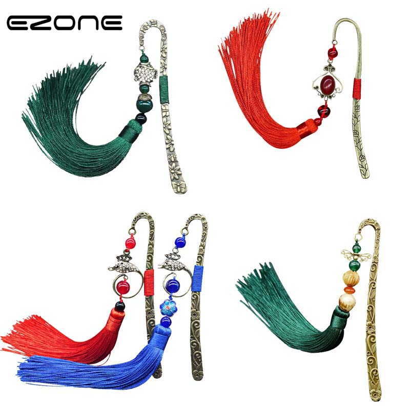 EZONE Vintage Bookmark Chinese Classical Retro Hairpin/Feather Bookmarks Chinese Folk Style Book Holder School Office Supply