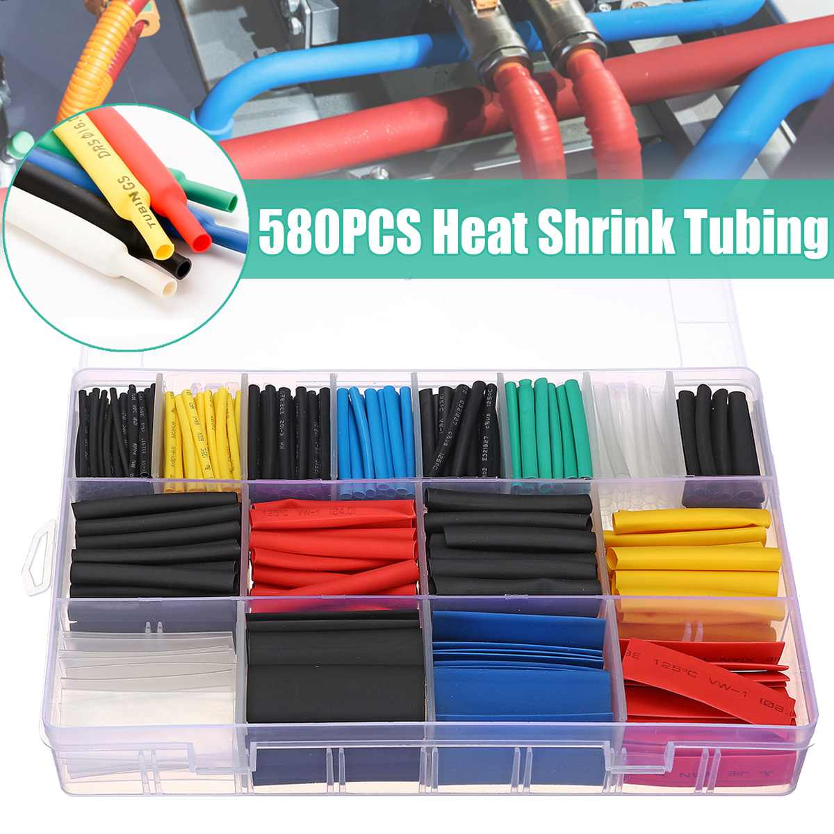 560pcs Heat Shrink Electrical Wire Cable Tubing Tube Sleeve Wrap Shrinkage Kit