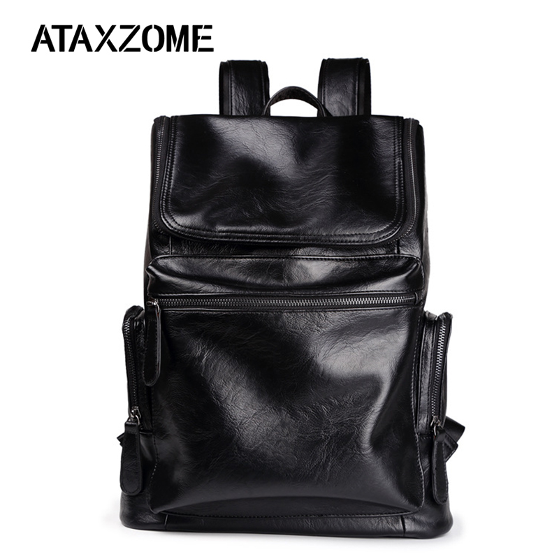 Backpacks Ataxzome Casual Mens Backpack Quality Pu Brand Laptop School Shoulder Bag Fashion Backpack Mens Gift Ds6531 Men's Bags