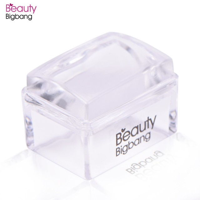 BeautyBigBang 1Set Rectangle Jelly Silicone Nail Stamper With Scraper Clear Handle Stamping Tool Manicure Nail Art Stamper Kit
