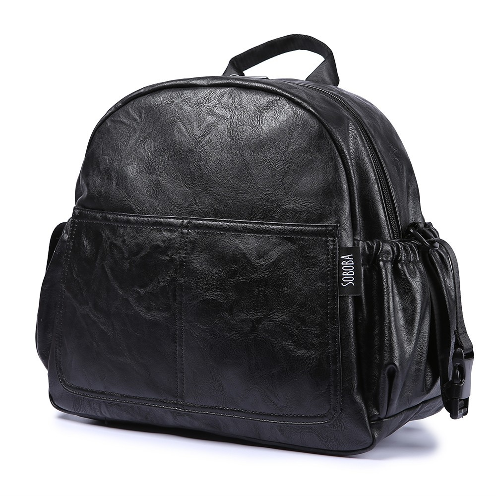 Fashion Maternity Nappy Changing Bag for Mother Black Large Capacity Fashion Diaper Bag with 2 Straps