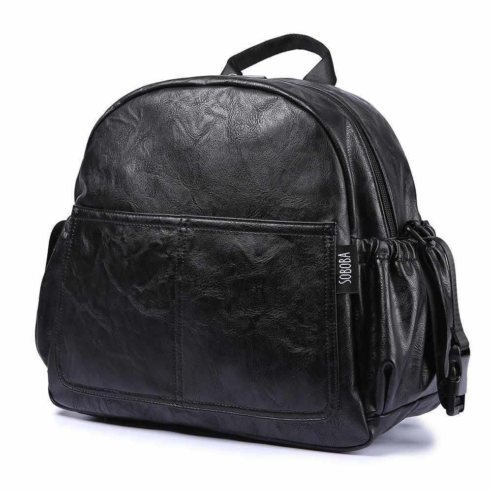 Bolso cambiador de pañales de maternidad de moda para madre Bolso de pañales de moda de gran capacidad negro con 2 correas Mochila de viaje para bebé