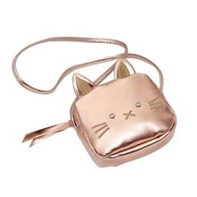 Children Small Cartoon Sling Shoulder Bag Cat Shaped Cute Rose Golden Messenger Crossbody Bags For Change Coin Child Girl Purse недорого