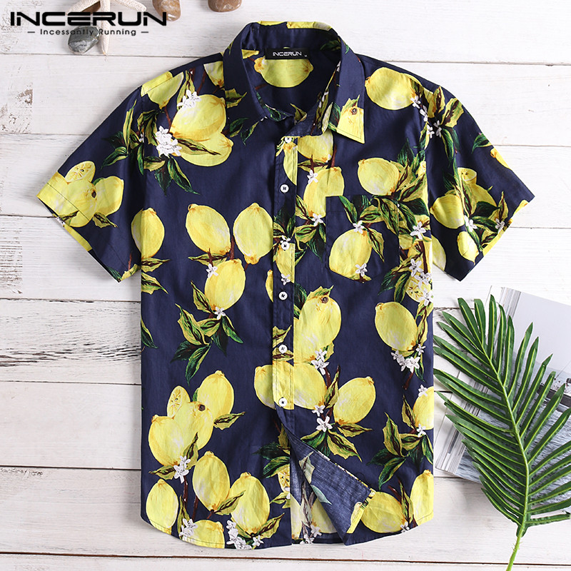 INCERUN Summer Lemon Fruit Printing Mens Casual Shirt Lapel Neck Cotton Loose Short Sleeve Hawaiian Shirts Men Camisa 2020 S-5XL