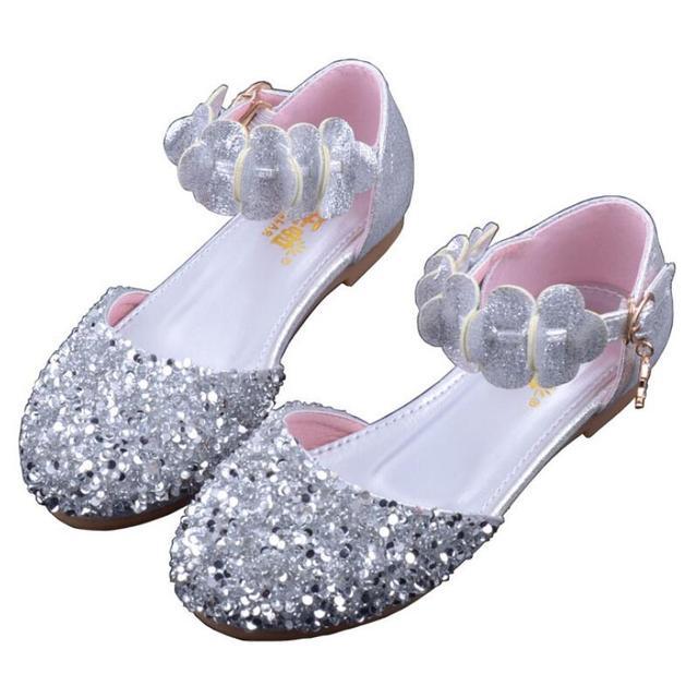 b3677a30d Zapatos de princesa niñas Sandalias de tacón alto brillante de diamantes de  imitación vestido de noche