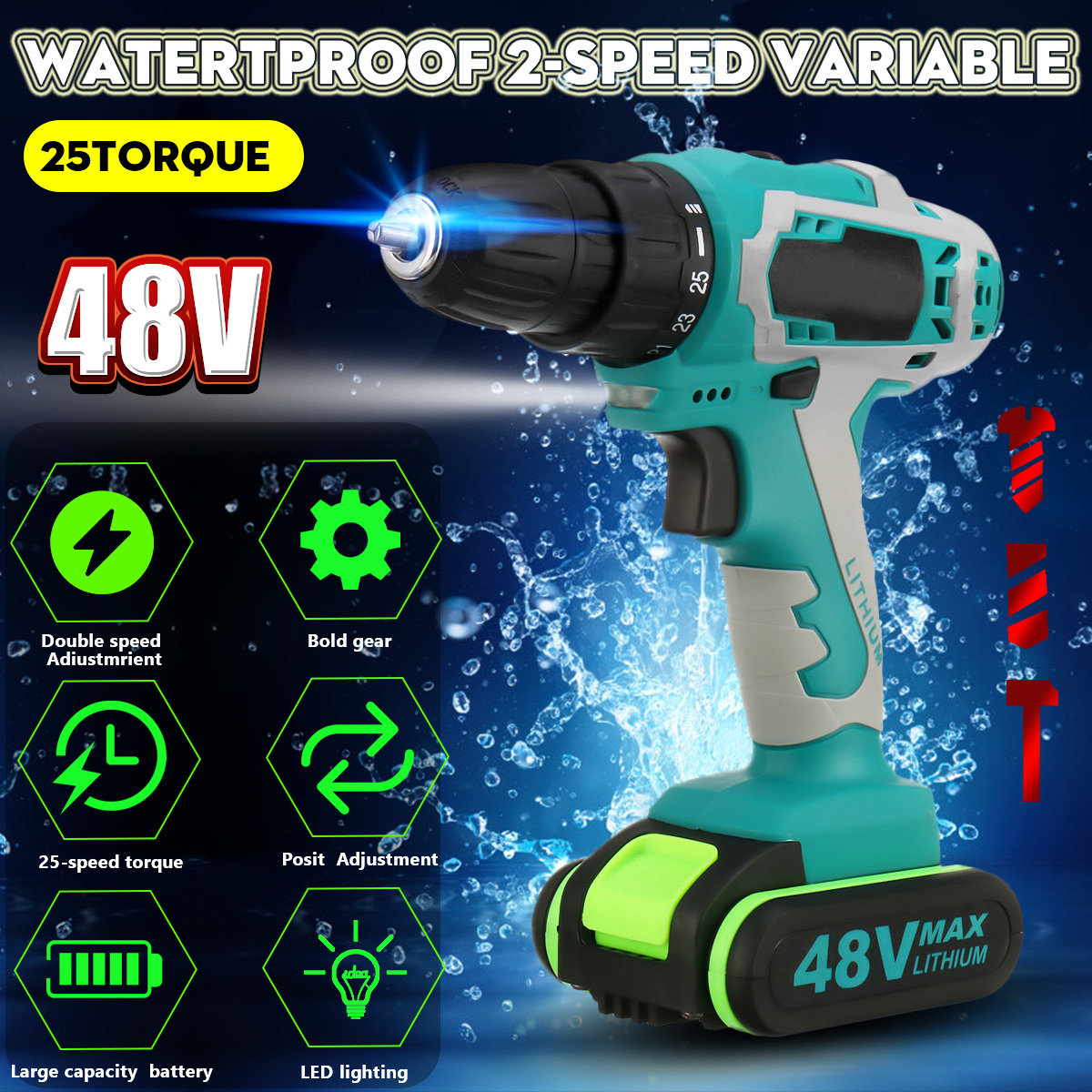 48V 5000mAh 25~28Nm 25-speed Torque Double Speed Brushless Cordless Electric Drill Screwdriver Hammer LED lighting48V 5000mAh 25~28Nm 25-speed Torque Double Speed Brushless Cordless Electric Drill Screwdriver Hammer LED lighting
